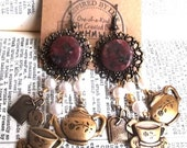 Steampunk Victorian Tea Party Charm Filigree Earrings with Vintage Glass Pearl Chain and Red Gemstone Agate Accents OOAK