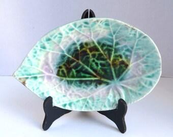 Antique Victorian Blue/Lavender/Green?Brown Majolica Begonia Leaf Dish