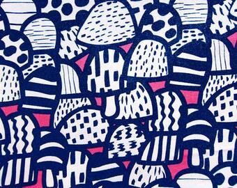 Cotton Fabric By The Yard - Blue Retro Mushrooms on Pink - Half Yard