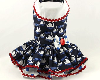 Dog dress, Harness dog dress, Patriotic dog dress,  red, white and blue swans and polka dots