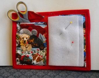 Holiday Pups Needle Book, Needle Case, Hand Sewing Organizer