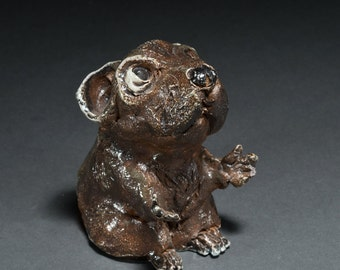 Shinston The LIttle Fat Mouse Sculpture made with clay ceramic love for mice