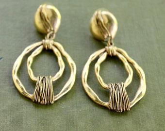 Boho Earrings Gold Tone Dangle Vintage