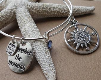 Compass Rose Bangle, Thoughtful Gift, Adjustable Bangle Bracelet, Silver Bangle, Charm Bangle,Birthstone Bangle, BFF Gift, Graduation Gift