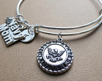 Stacking Bangle, Proud Mom Bracelet, Navy Mom Bangle, Expandable Bangle, Charm Bracelet, Personalized Bangle, Silver Bangle Gift for Mom