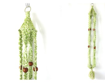 70s Macrame Plant Hanger Green Braided White Plant Hanger Boho Home Decor Wood Beads Bohemian Chic Ranch Decor