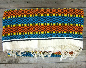 Authentic Vintage WOOL Mexican Southwestern Ethnic Lap Blanket Rug Large Heavy Woven Throw Hand Woven Blue Orange Large Multicolor Fringe