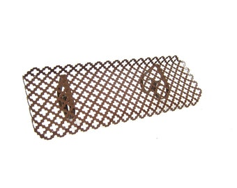 Brown Mid Century Metal Shelf mesh filagree small wall shelf Cut Out Punched metal shelf wall hanging