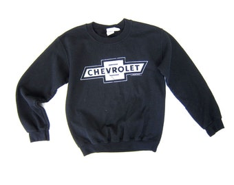 Vintage Black Sweatshirt CHEVROLET Sweatshirt Tomboy Mechanics Grunge Pullover 80s 90s Hipster Car Truck Sweatshirt Womens XS Small