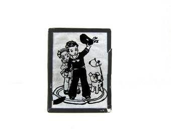 Vintage Folk Art Painted Glass and Tin Foil Art Wall Hanging Picture young Sailor boy and His Girl with Dog