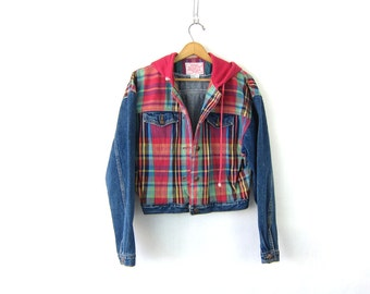 cropped Plaid Jean Jacket dyed denim jacket 90s Jordache Hoodie coat Preppy hipster Coat Women's size Medium
