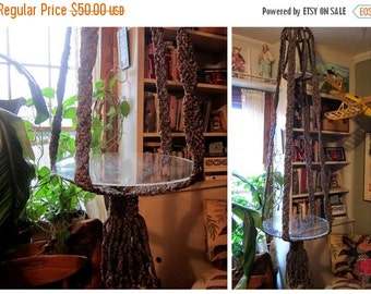 Vintage extra Long large macrame Double Plant Hanger with shelf tray / Brown boho chic home decor