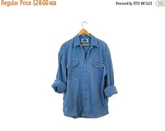 Washed Out Faded Denim Shirt SOFT Cotton Button Up Boyfriend Blue Jean Shirt Chambray Minimal Boho Tomboy Slouchy Unisex Coed Vintage LARGE
