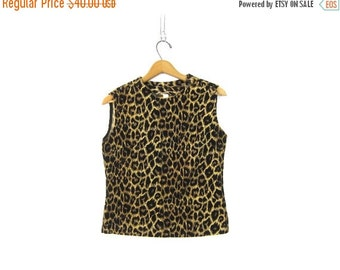 Boxy MOD Leopard Print Top Animal Print Sleeveless Shirt 60s Corduroy Burlesque Pin Up Girl Retro Union Label Hipster Women's Small Medium