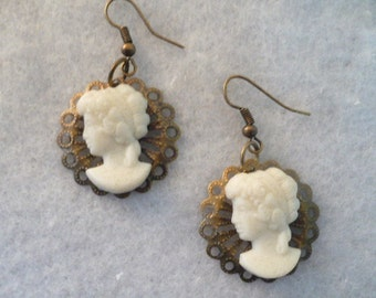 Steampunk Resin Cameo and Metal Dangle Earrings, Goth, Heavy Metal,  Hippie Jewelry, BoHo Jewelry, Gypsy Jewelry, Peace Signs,