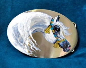 Arabianh horse  Belt Buckle hand painted  new