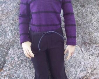 Superhero EID BJD 70 cm Boy - Aubergine Sweater and Black Drawstring Pants