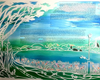Together By the Pond - papercut ketubah with hand lettering