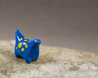 Little Dinosaur - Blue And Yellow - Terrarium Figurine Miniature Ceramic Animal - Hand Sculpted