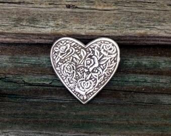 Rose Heart Pewter Pin