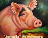 "PIG PAINTING SALE! Original oil on canvas 20"" x 20""  American Hog"
