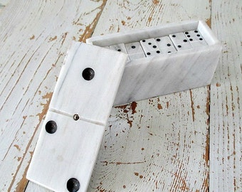 UnUSuaL MaRBLe BoX of TiNY MaRBLe DoMiNo TiLeS