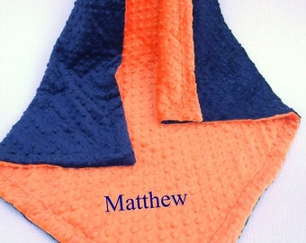 ON SALE Navy and Orange Minky Baby Blanket for Baby Boy or Girl
