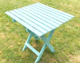 Turquoise Wood Folding Side Table End Table Patio Indoor Outdoor