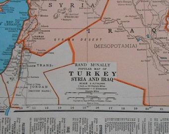 Vintage Map of Turkey, Syria, Iraq, 1947 original old Atlas Map