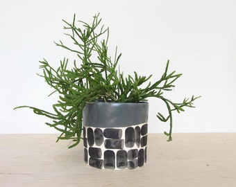 Round Brick Pinched Planter in Storm Gray - Made to Order