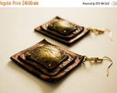 50% OFF SALE Copper square dangle earrings Leather Jewelry
