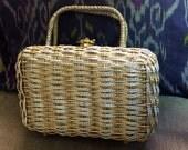 Woven Metal Koret Bag - vintage evening bag - basketweave bag - mixed metal bag - 1960s vintage bag