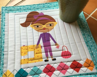 Girlfriends by Robert Kaufman - Mug Rug sewing / quilter / sewist / Ann Kelle / quilted / gift for her / teenager / hobby / coaster / bright