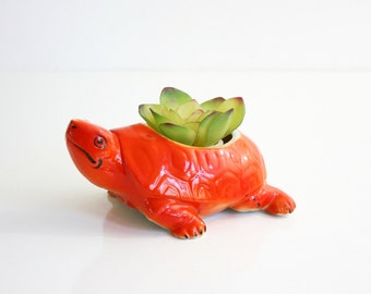 Mid Century Turtle Planter / Bright Orange Turtle Plant Pot / Colorful Retro Tortoise Planter from Japan / Hand Painted Tortoise Plant Pot