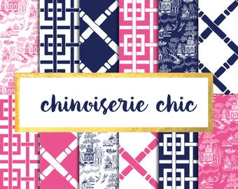 Chinoiserie Chic Digital Paper Pack (Instant Download)
