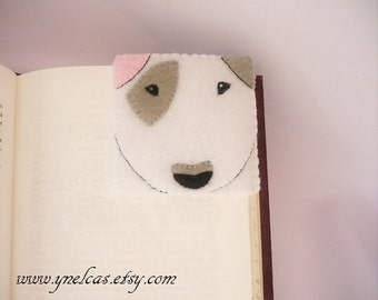 Felt corner bookmark -  Felt bookmark - Dog  bookmark - Animal bookmark - Bull terrier bookmark - Handmade bookmark