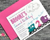 Train Invitations · A2 FLAT · Fuchsia Purple Teal · Birthday Party | Choo Choo Train | All Aboard
