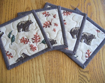 Quilted Coasters in Bears and Oak Leaves - Set of 4