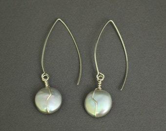 Freshwater Pearl Wire-wrapped Earrings