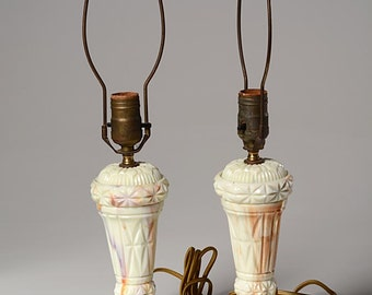 PAIR of 1940's Akro Agate Table Lamps - Rewired
