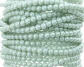 4mm Opaque Light Green Luster Czech Glass Round Beads - Qty 50 (AW15)
