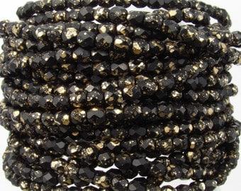 4mm Faceted Matte Opaque Black Gold Speckled Firepolish Czech Glass Beads - Qty 50 (DW28)