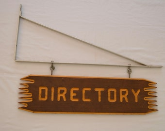 on sale Vintage DIRECTORY large WOOD sign with metal bracket cabin advertising