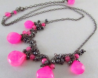 25% Off Summer Sale Pink Chalcedony and Spinel Cluster Necklace