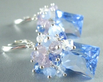 End Of Summer Sale Blue Quartz, Lavender Opal, Blue Chalcedony, Topaz and Crystal Gemstone Sterling Silver Earrings