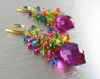 Colorful Quartz Earrings Gold Filled Wire Wrapped Cluster Earrings
