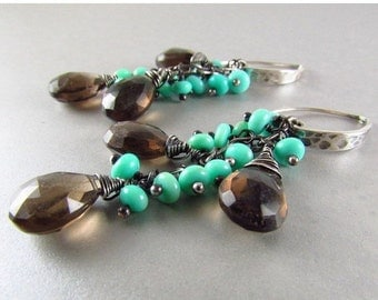 20 % Off Smoky Quartz and Blue Peruvian Opal Oxidized Sterling Silver Dangle Earrings