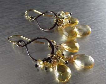 20 % Off Citrine With Oxidized Sterling Silver and Gold Filled Dangle  Earrings
