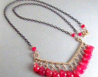 BIGGEST SALE EVER Ruby Wire Wrapped Mixed Metal Necklace