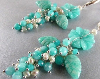 BIGGEST SALE EVER- Carved Amazonite Flower and Leaves Cluster Earrings